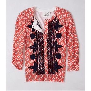 Anthropologie Embroidered Primary Cardigan Sz M